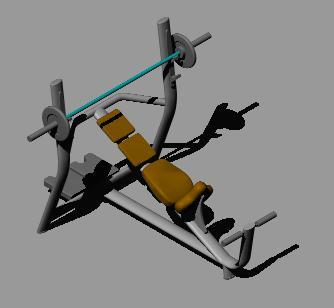 Planos de Banco de pesas inclinado 3d, en Equipamiento gimnasios – Deportes y recreación