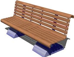 imagen Banco para exteriores 3d, en Equipamiento - Parques paseos y jardines