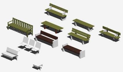 imagen Bancos de calle 3d, en Equipamiento - Parques paseos y jardines