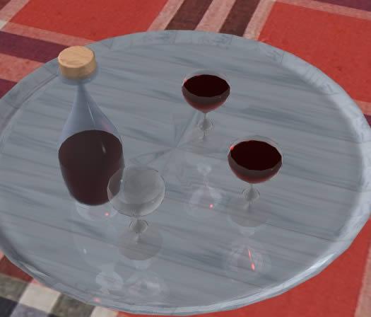 Bandeja con bebida, en Objetos varios – Muebles equipamiento