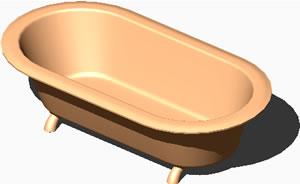 Planos de Bañera exenta en 3d; bordes semicirculares, en Bañeras – Sanitarios