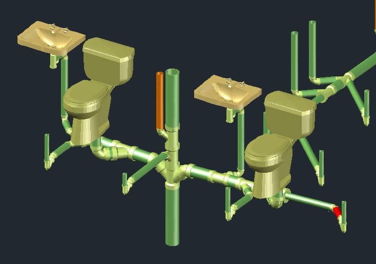 imagen Baño isometria, en Tubos y elementos de pvc - ppn - fofo - etc - Sanitarios