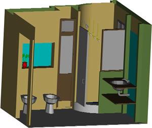 Planos de Baño para vivienda 3d, en Baños – Muebles equipamiento