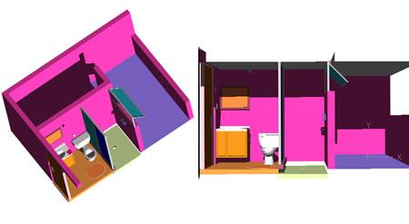 Planos de Baño zonificado completo en 3d, en Baños – Muebles equipamiento