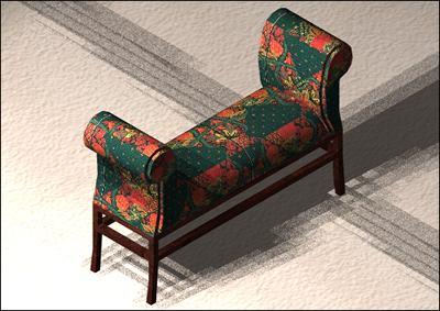 Planos de Banqueta con materiales y texturas aplicadas en 3d, en Butacas – Muebles equipamiento