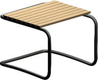 Banqueta de madera y acero 3d con materiales aplicados, en Butacas – Muebles equipamiento
