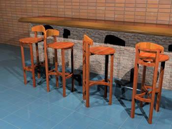 Banqueta rústica para bar 3d, en Bares y restaurants – Muebles equipamiento
