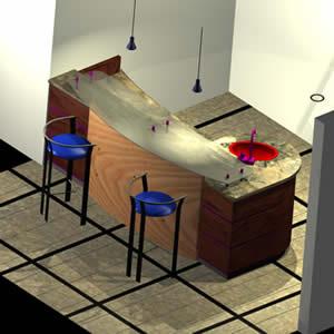 Planos de Bar 3d con materiales aplicados, en Bares y restaurants – Muebles equipamiento