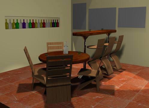 Bar – barra y sillas 3d, en Cibercafés locutorios y telefónicas – Muebles equipamiento
