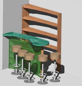 Planos de Bar esquinero 3d, en Bares y restaurants – Muebles equipamiento