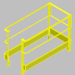 Planos de Barandilla industrial 3d, en Barandas – Escaleras