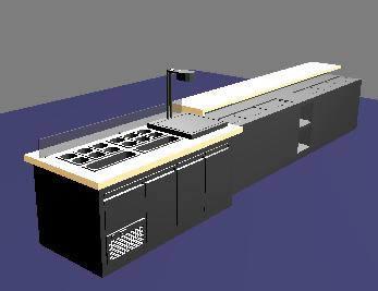 Barra. 3d, en Cocinas – Muebles equipamiento