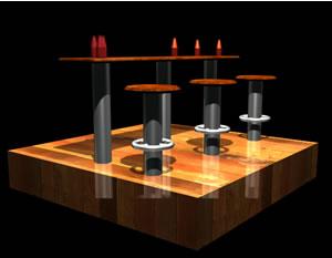 Barra de comida o bar 3d, en Bares y restaurants – Muebles equipamiento