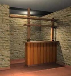 Barra para bar 3d, en Bares y restaurants – Muebles equipamiento