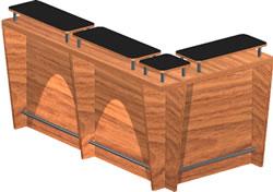Planos de Barra para bar en 3d con materiales  faplicados, en Bares y restaurants – Muebles equipamiento