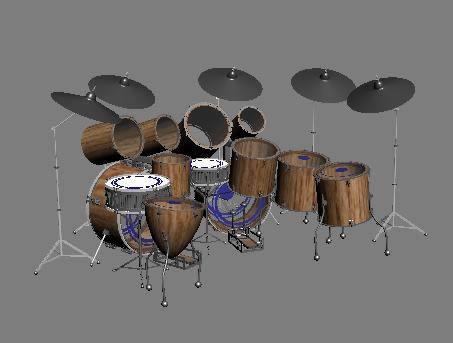 Bateria 3d, en Instrumentos musicales – Muebles equipamiento
