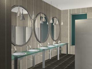 Bateria de baños 3d con materiales aplicados, en Baños – Muebles equipamiento