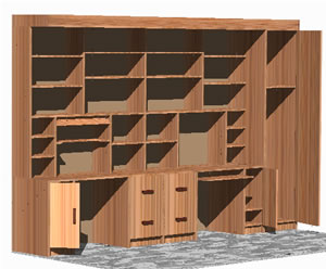 Planos de Biblioteca en 3d, en Estanterías y modulares – Muebles equipamiento