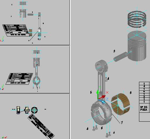 imagen Biela; piston y anillos 3d, en Maquinaria e instalaciones industriales - Máquinas instalaciones
