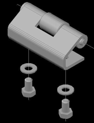 Planos de Bisagra robusta 3d, en Herrajes cerraduras tornillos – Aberturas