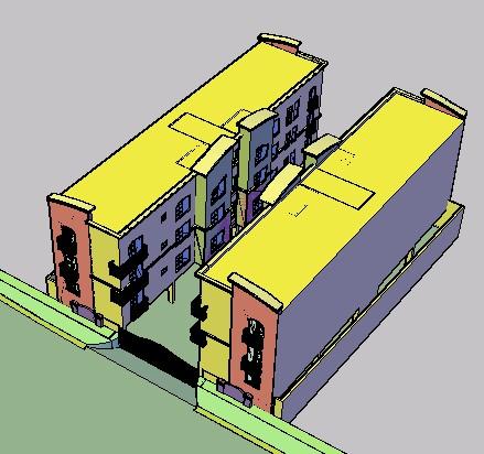 Planos de Bloque de departamentos 3d, en Vivienda unifamiliar 3d – Proyectos