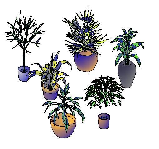 Planos de Bloque de plantas en macetas en 3d, en Arboles en 3d – Arboles y plantas