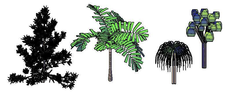 Bloques en 3d arboles  y arbustos, en Arboles en alzado – Arboles y plantas