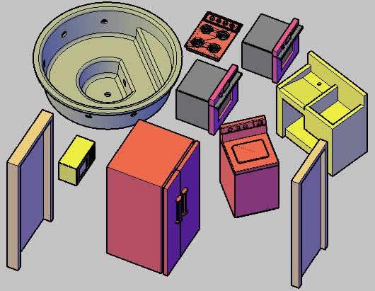Planos de Bloques para arquitectura 3d, en Electrodomésticos – Muebles equipamiento