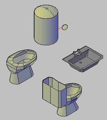 imagen Bloques sanitarios en 3d, en Artefactos - Sanitarios