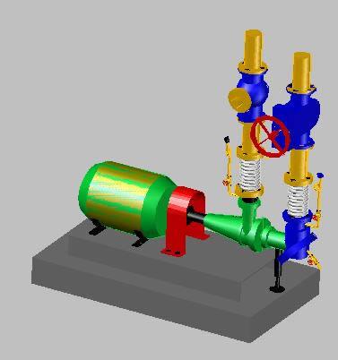 imagen Bomba de agua con detalles en 3d, en Equipos de bombeo - Máquinas instalaciones