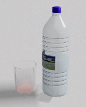 imagen Botella de agua y vaso, en Objetos varios - Muebles equipamiento