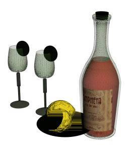 Botella de vino en 3d, en Objetos varios – Muebles equipamiento