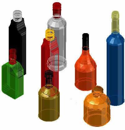imagen Botellas vinos 3d, en Objetos varios - Muebles equipamiento