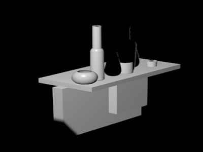 imagen Bottle; vase; glass on table, en Bares y restaurants - Muebles equipamiento