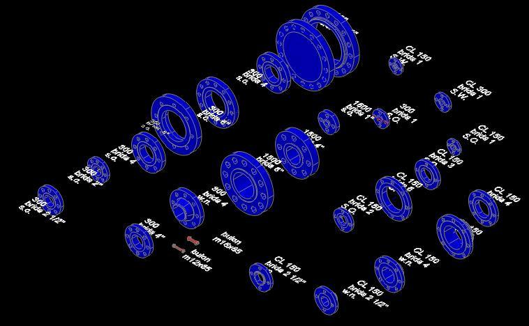Planos de Bridas 3d, en Válvulas tubos y piezas – Máquinas instalaciones