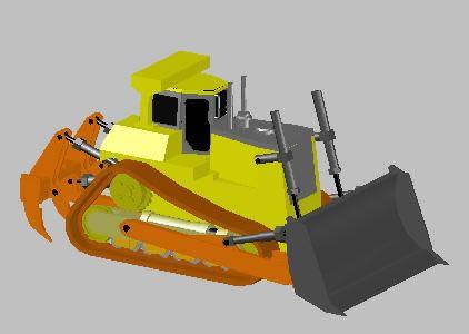 Planos de Bulldozar 3d, en Industria minera – Máquinas instalaciones
