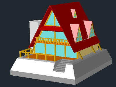 Planos de Bungalow playero 3d, en Turismo y recreación – Proyectos
