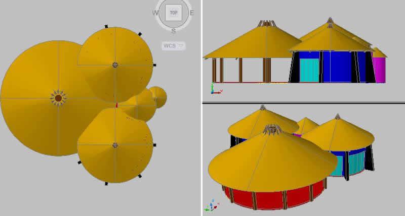 Planos de Bungalows 3d, en Turismo y recreación – Proyectos