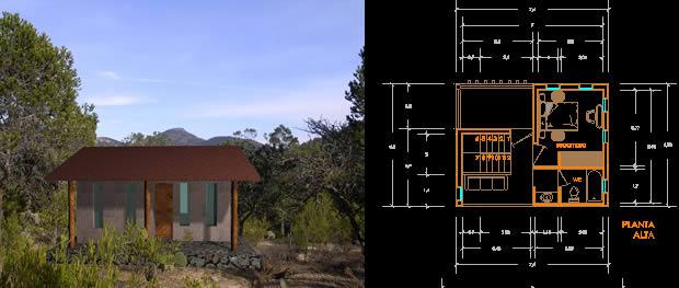 Planos de Cabaña 1 habitacion, en Vivienda unifamiliar – Proyectos