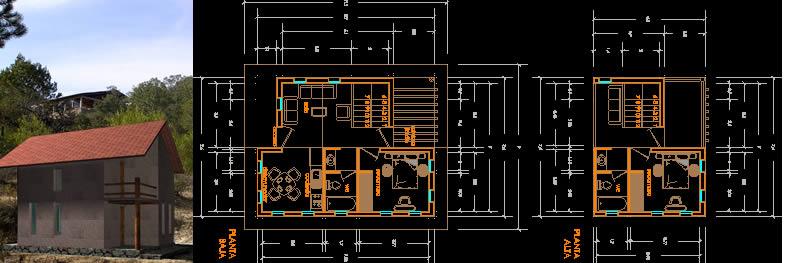 Planos de Cabaña 2 habitaciones, en Proyectos – Parques paseos y jardines