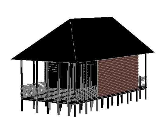 Planos de Cabaña de madera en 3d, en Vivienda unifamiliar 3d – Proyectos