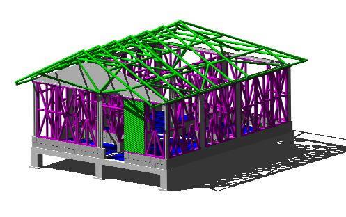 Planos de Cabaña de una planta en bambu, en Arq. bioclimática – Proyectos