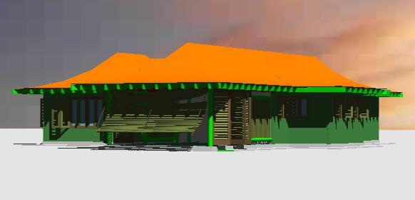 Planos de Cabaña en 3d, en Vivienda unifamiliar 3d – Proyectos