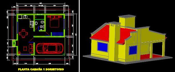 imagen Cabaña pequeña en 3d, en Vivienda unifamiliar - Proyectos