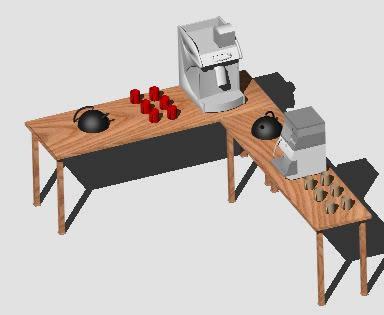 Planos de Cafe barra 3d, en Bares y restaurants – Muebles equipamiento
