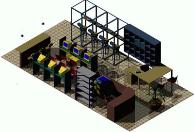 Planos de Cafe internet con cabinas telefonicas 3d, en Cibercafés locutorios y telefónicas – Muebles equipamiento