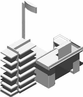 Planos de Caja de pago con poste y cabezal en 3d, en Supermercados y tiendas – Muebles equipamiento
