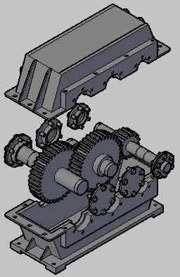 imagen Caja reductora 3d y vistas, en Maquinaria - proyectos varios - Máquinas instalaciones