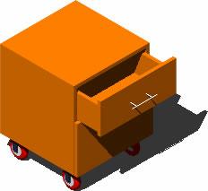 Planos de Cajonera con ruedas 3d, en Oficinas y laboratorios – Muebles equipamiento