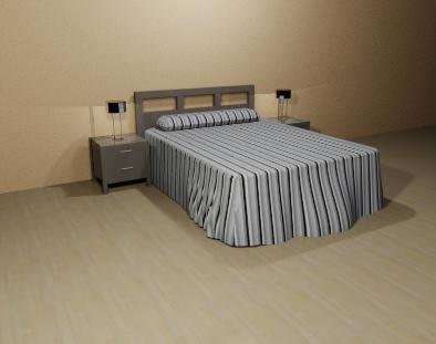 Cama 150 x 200cm con cabecera y mesas de noche, en Dormitorios – Muebles equipamiento
